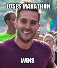 He didn't win the marathon, but he won our hearts.