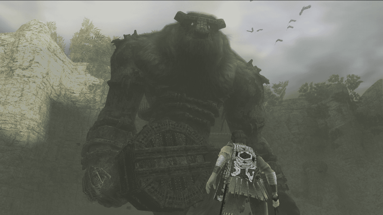The protagonist and the first Colossus, Valus.
